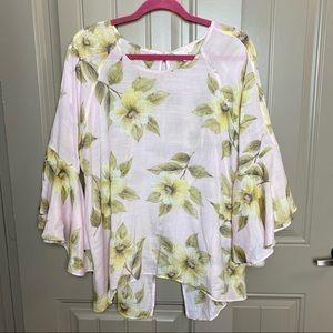 LC Pink Pastel Floral Bell Sleeve Split Back Top